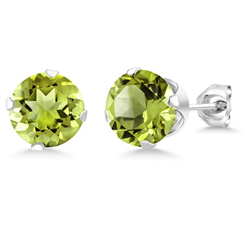 2.00 Ct Green Peridot Gemstone Birthstone 925 Sterling Silver Stud Earrings 6mm For Women