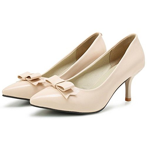 TAOFFEN Women Fashion Kitten Heel Slip On Pointed Toe Bow Court Shoes Nude V0hMYvj