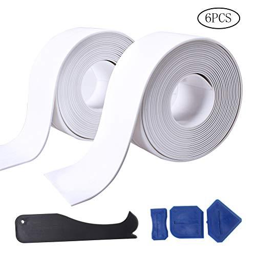 Fashion Road 2 Pack Caulk Strip and 4 Pcs Sealant Tools, PE Bathtub Caulk Strip, Self Adhesive Sealant Caulk Strip (38mm x3.2m x 2 Roll) Kitchen and Toilet (38mm x3.2m - Trim Sealer