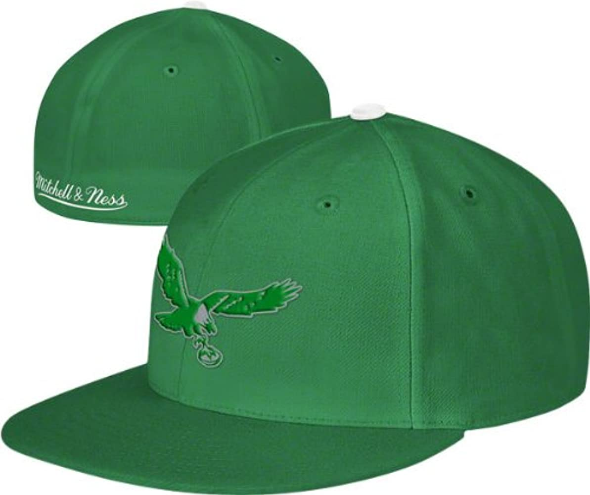 690c74161 Amazon.com: Mitchell & Ness Philadelphia Eagles Throwback Fitted Hat ...