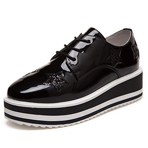 [オス スメミセ] カジュアルシューズ レディース 赤 黒 米色 5cmUP厚底 エナメル 星柄 外羽根 おしゃれ プレーントゥ 通勤 通学 入学式 卒業式 学生靴