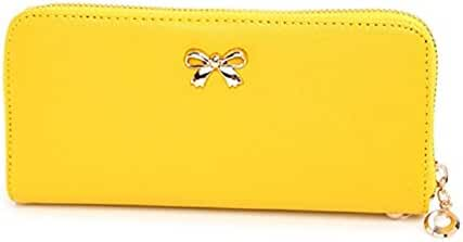 Bowknot Purse Wallet Bag,Hemlock Women Girls Zipper Clutch Wallet Handbag (Yellow)