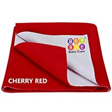 "Premium Hypoallergenic Quick Dry Waterproof Reusable Mat/ Underpad/ Absorbent Sheets/ Mattress Protector/ Crib Sheets (Size: 70Cm X 50Cm) / (28""x19"") (Baby Dry Sheets) Small Red By Bey Bee"