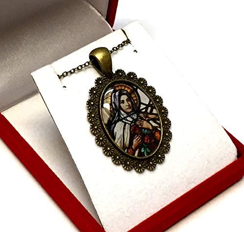 Saint Therese of Lisieux the Little Flower Pendant Necklace, Handmade Catholic Pendant