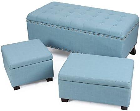 Adeco Fabric Retangular Button Tufted Nailhead Trim Trio Storage Ottoman Bench, Princess Blue Set of 3