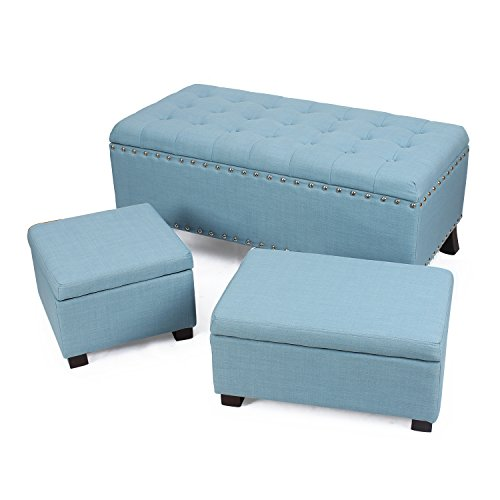 Adeco Fabric Retangular Button Tufted Nailhead Trim Trio Storage Ottoman Bench, Princess Blue (Set of ()
