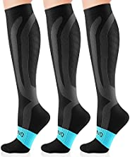 Cambivo 3 Pairs Compression Socks for Women and Men(20-30 mmHg), fit for Swelling, Nurses, Running, Hiking