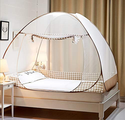 Mosquito Net, Bed Tent Pop up Mosquito Net for Bed,Bed Canopy Baby Mosquito Nets Trip Insect Fly Screen Bedroom Mosquito Netting (Brown, 200x180x150CM)