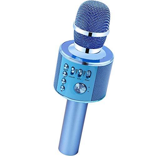 Verkstar Wireless Bluetooth Karaoke Microphone Machine, Portable Handheld Karaoke Mic Speaker Party Birthday Family Gift for iPhone, Android, iPad, PC, All Smartphones(Blue)