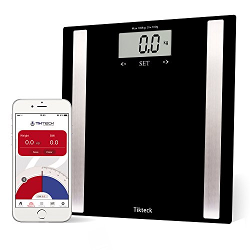 Bluetooth High Precision Digital Wireless Scale with Fitness IOS and Android APP and Large Backlit LCD Step On Technology Track Weight BMI BMR Body Fat Bone Muscle and Water-Black