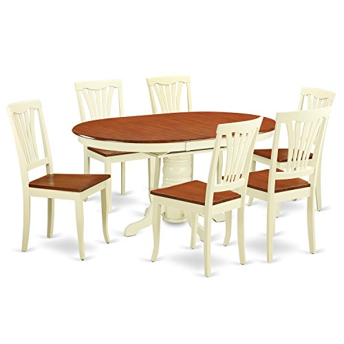 (East West Furniture KEAV7-WHI-W 7-Piece Dining Table Set)