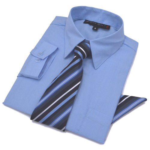 Johnnie Lene Boys Dress Shirt with Tie and Handkerchief #JL26 (4T, Sky Blue)