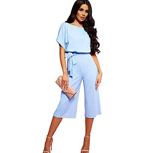 ALAIX Women's Elegant Jumpsuit High Waist Crewneck Overall Short Sleeve Wide Leg Romper Midilength Playsuits with Belts -