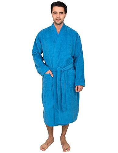 TowelSelections Men's Robe, Turkish Cotton Terry Kimono Bathrobe X-Small/Small French Blue -