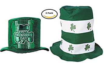 Sequin St. Patrick Top Hat & Shamrock Stovepipe Hat Funny Party Hats
