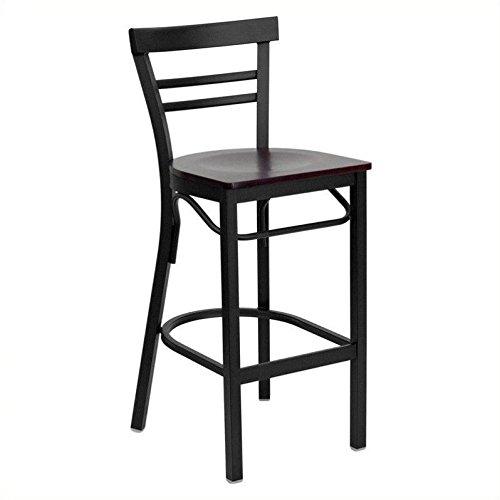 Flash Furniture HERCULES Series Black Ladder Back Metal Restaurant Barstool - Mahogany Wood Seat - Furniture Restaurant Wood Bar Stool