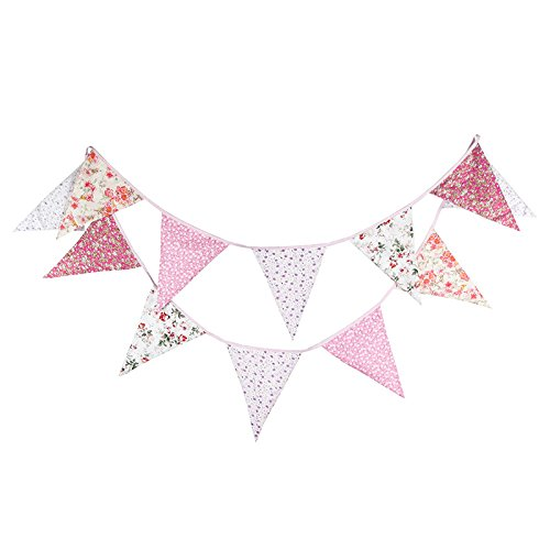 Double Sided 3.7M/12Feet Floral Bunting Banner Pennant Garland Large Size Triangle Flag Vintage Cloth Shabby Chic Decoration for Birthday Parties, Kitchen, Bedroom (Pastoral (12' Vintage Flag)