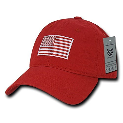 (Rapid Dominance American Flag Embroidered Washed Cotton Baseball Cap - Tonal Red)