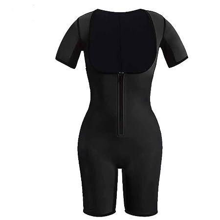 HXZB Neopreno Deportivo para Mujer De Cuerpo Completo Shapewear Quick Perspiration Zipper Adelgaza Traje De Sauna,Black,S