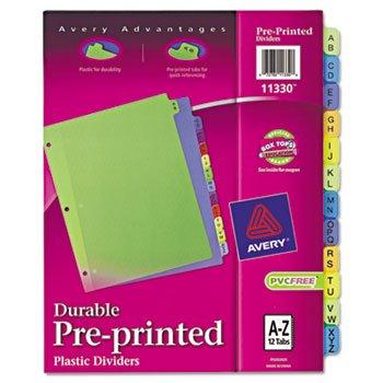 Avery etiquetas separadores de plástico, 11 x 8 - 1/2, A-Z, varios colores: Amazon.es: Oficina y papelería