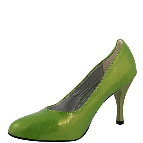 Party Pump in limegreen Lack-Look Grün mit Pfennigabsatz Damenschuhe V1507