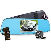 CLEVER BEAR Dash Cam Full HD 1080P 5 Inch Mirror With Rear View Camera Car Dash Cam Dual Lens Monitor Night Vision