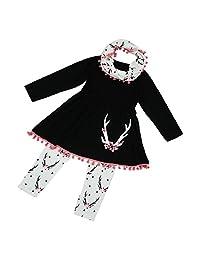 Girls Winter Tunic Dress Clothes Pants Scarf 3PCS Outfits Kids Clothes Set