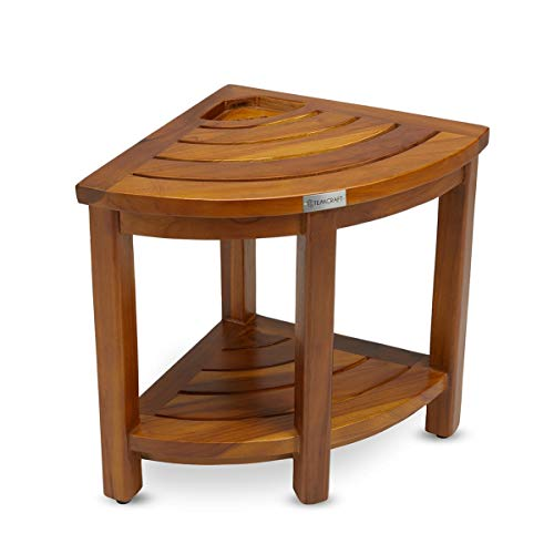 Teak Corner Bench with Basket, Fully Assembled, 16 Inch, The Loki