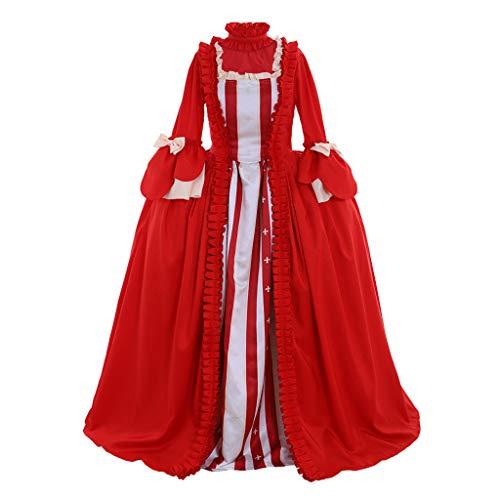 CosplayDiy Women's Rococo Ball Gown Gothic Victorian Dress Costume (XXXL, Red&White)