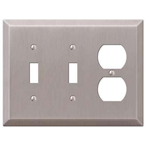 - Amerelle Century Double Toggle/Single Duplex Steel Wallplate in Brushed Nickel