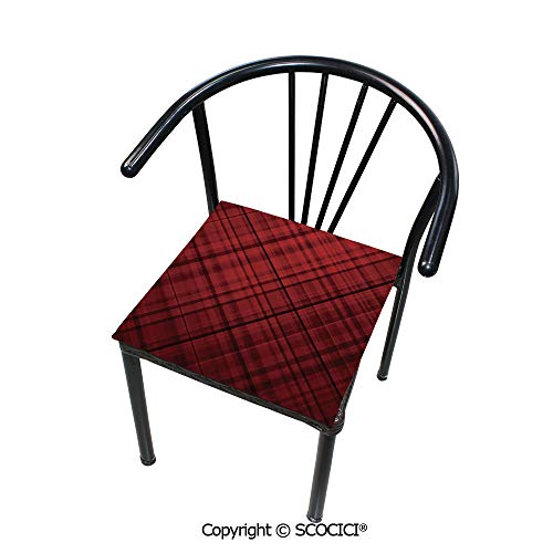 SCOCICI Comfort Memory Foam Square Chair Cushion Scottish Kilt Design Pattern with Stripes Lines Squares Ombre Image for Home Softness Chair Pads 16
