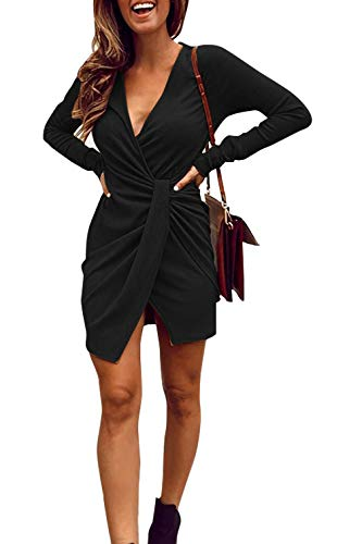 V Neck Ribbed Knit Long Sleeve Ruched Slit Mini Party Dress (Large, Black) ()
