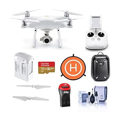 DJI Phantom 4 Pro V2.0 Quadcopter Drone with Remote Controller - Bundle With 32GB MicroSDHC Card, Hardshell Backpack, Intelligent Battery, Propellers, Landing Pad, Cleaning Kit, Card Reader