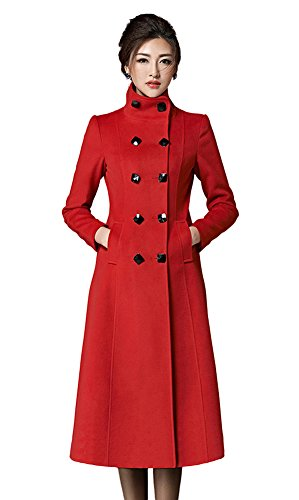 Chickle Women's Double Breasted Lapel Walker Long Wool Coat Red L