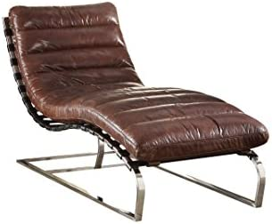 ACME Qortini Chaise – – Vintage Dark Brown Top Grain Leather Stainless Steel