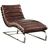 ACME Qortini Vintage Dark Brown Top Grain Leather and Stainless Steel Chaise