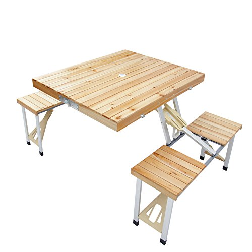 Peach Tree Portable Folding Wooden Outdoor Camping Suitcase Picnic Table Garden BBQ (Aluminum Tree Bench)