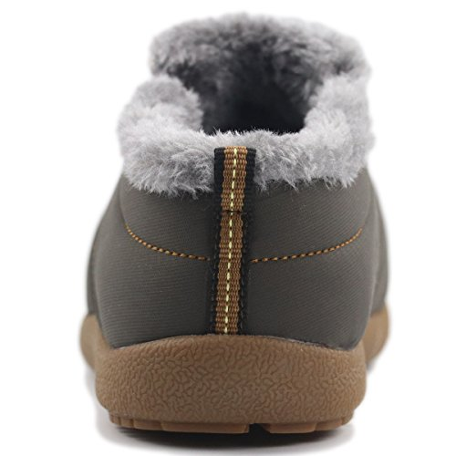 Forucreate Mens Non-Slip Waterproof Fully Fur Lined Winter Snow Boots Grey/ Low-top zmg3G7