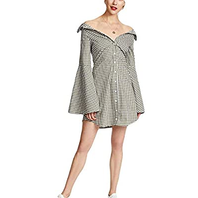 Jahurto Off Shoulder Plaid Shirt Dress Women Flare Long Sleeve Button A-line Mini Dress