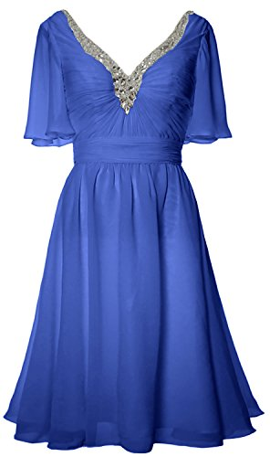 MACloth Women Short Sleeves Mother of Bride Dress V Neck Evening Formal Gown Horizon