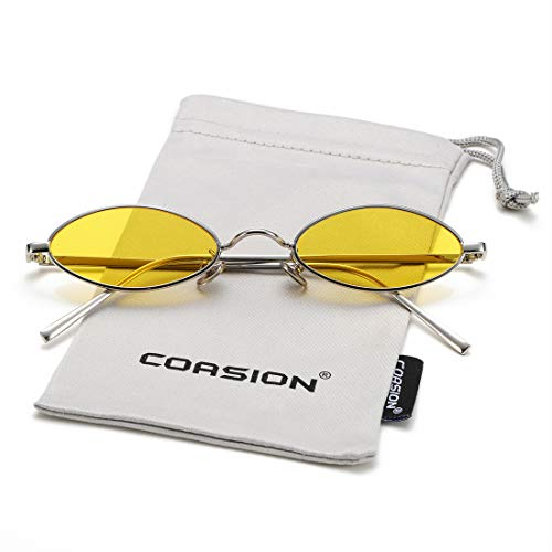 - Vintage Small Oval Sunglasses for Women Men Hippie Cool Metal Frame Sun Glasses (Silver Frame/Yellow Lens)