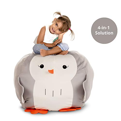 - 4-in-1 Bean Bag Stuffed Animal Storage - Organize I Play I Decor I Seat I Mom's Life Saver Bean Bag Chair for Kids I Dream Come True Toy Storage Solution I 28 inches I BeanBag Chair Cover only