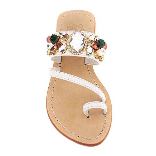 'St. Cyricus' Crystal Embellished Leather Sandals (36, Rainbow / - Crystal Rainbow Sandals