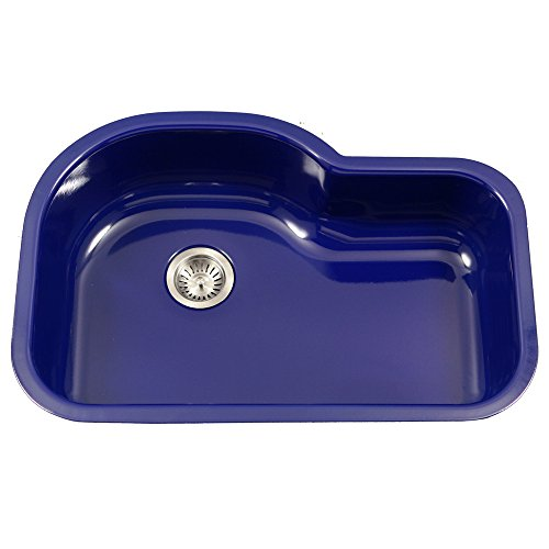Houzer PCH-3700 NB Porcela Series Porcelain Enamel Steel Undermount Offset Single Bowl Kitchen Sink, Navy Blue (Kitchen Porcelain Sink)