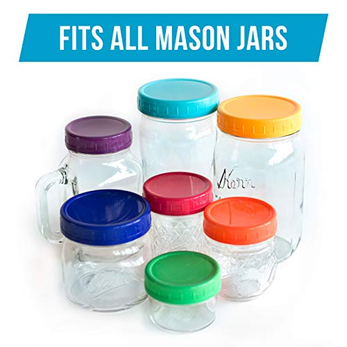 The Goods Mall [14 Pack] Color Plastic Mason Jar Lids - Fits BALL or KERR - 7 Wide Mouth & 7 Regular Mouth by The Goods Mall (Image #2)