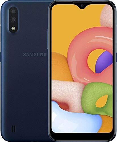 "Samsung Galaxy A01 16GB/2GB RAM (SM-A015M/DS) Dual SIM, 5.7"" Display, GSM Unlocked, International Version - Blue (Renewed)"