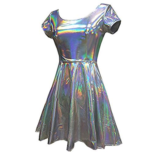 pinda Holographic High Waisted Flare Skater Dress (M, Silver)