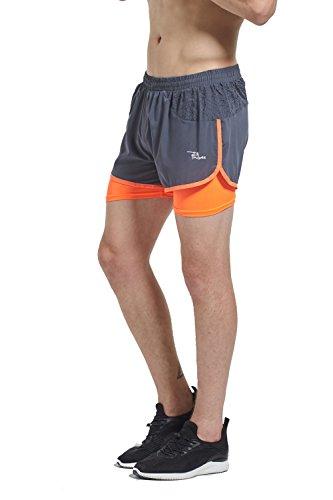 PHIBEE Men's 2-In-1 Running Shorts Elasticity Lightweight Sweatpants, Grey, S