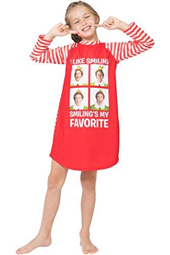 Elf The Movie 'Will Farrell Santa' Holiday Christmas Fleece Raglan Nightgown Sleepshirt Pajama, Red, 10/12