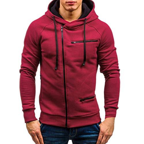 iDWZATOP Men's Autumn Casual Solid Long Sleeve Hoodie Sweatshirt Top Outwear(Red,US S/CN M)